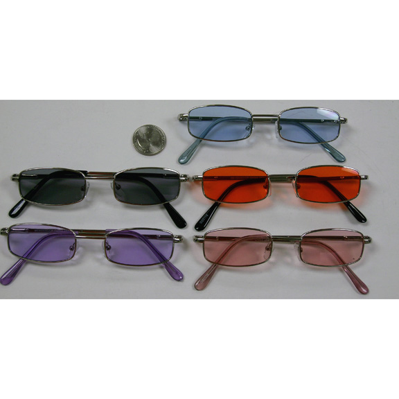 SMALL RECTANGLE METAL FRAMES LENNON COLOR LENS SUNGLASSES